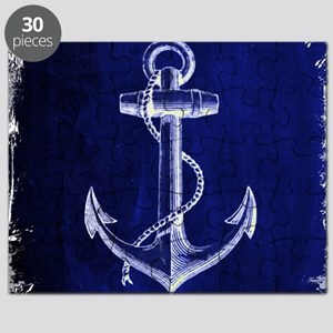 nautical navy blue anchor Puzzle