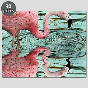 Pink Flamingo Reflection Puzzle