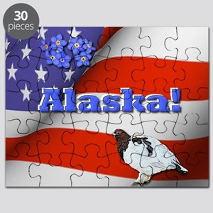 Alaska with American Flag  Puzzle