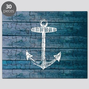 Anchor on Blue faux wood graphic Puzzle