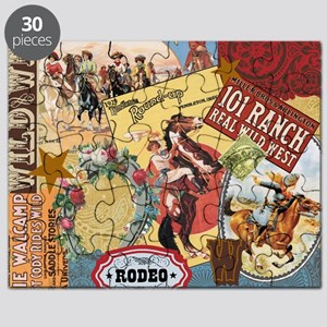 Vintage Western cowgirl collage Puzzle