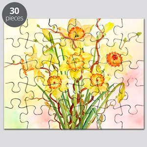 Watercolor Daffodils Yellow Spring Flowers Puzzle