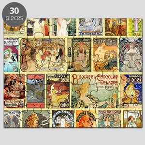Art Nouveau Advertisements Collage Puzzle