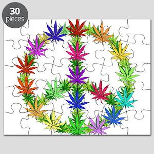 Rainbow Peace Marijuana Leaf Art Puzzle