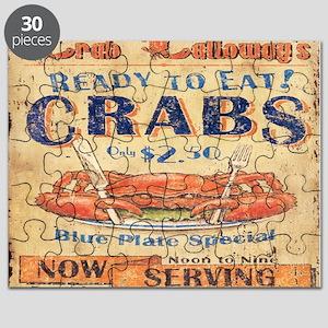 vintage crab woodgrain beach art Puzzle