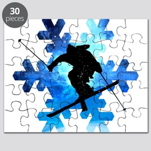 Winter Landscape Freestyle skier in Snowfla Puzzle