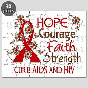 D Hope Courage Faith Strength 3 AIDS Puzzle
