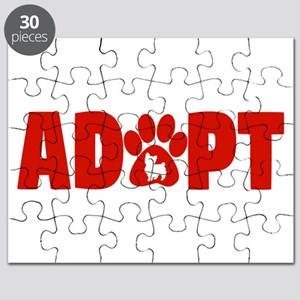 Cute Pets Paw Cat Dog Adopt Red Puzzle