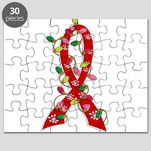 Christmas Lights Ribbon Heart Disease Puzzle