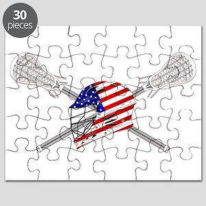 American Flag Lacrosse Helmet Puzzle