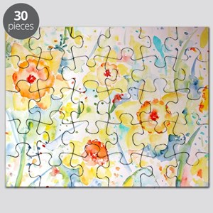 Watercolor yellow flowers daffodils pattern Puzzle