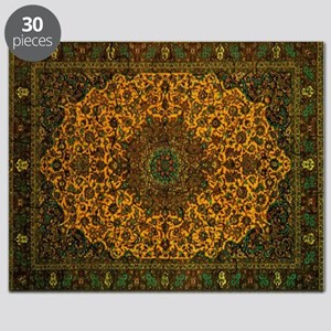 Persian Rug Dark Green and Gold Puzzle