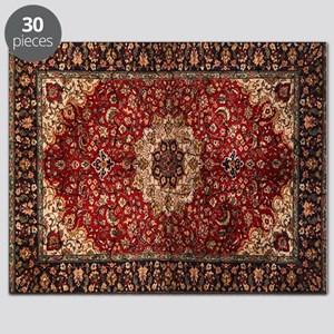 Persian Rug Red and Gold Puzzle