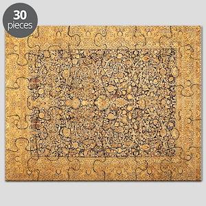Antique Kerman Persian Rug Geometric Puzzle
