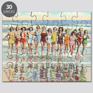 Vintage Women Running Beach Seashore Puzzle