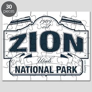 Zion National Park Blue Sign Puzzle