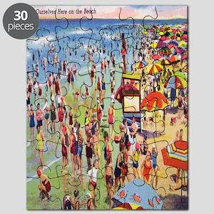 Vintage People on Beach Postcard Shower Cur Puzzle