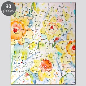 Watercolor Daffodils Pattern Puzzle