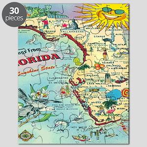 Vintage Florida Greetings Map Puzzle