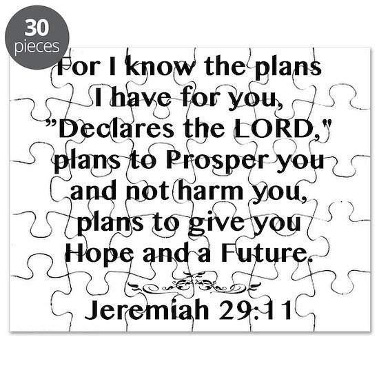 Jeremiah 29 11 Black Print Puzzle By