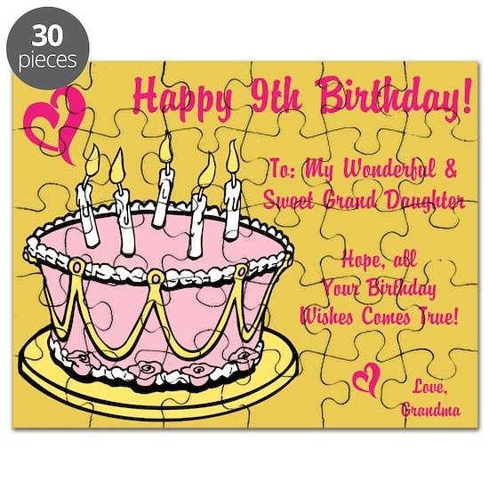 Happy 9th Birthday Card From Grandma