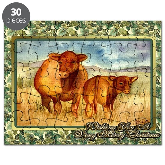 Red Angus Cow And Calf Christmas Card Puzzle By