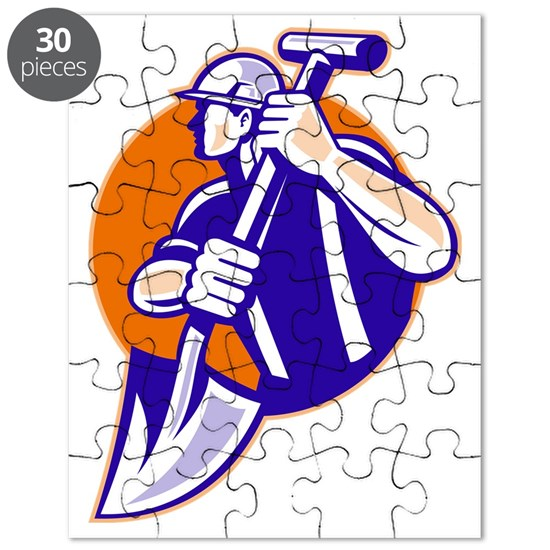 construction worker spade retro style Puzzle by patrimonio ...