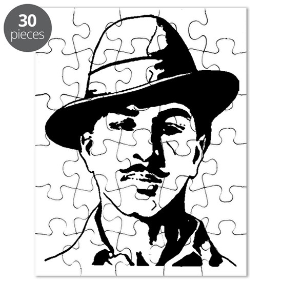 48e1fc946 Bhagat Singh Black and White Sketch Puzzle by ShabzDesigns - CafePress