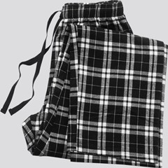 Image of Black Plaid Pajama Bottom