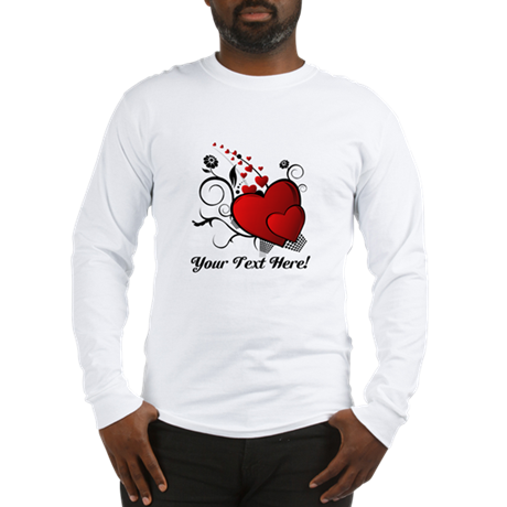 Personalized Red/Black Hearts Long Sleeve T-Shirt