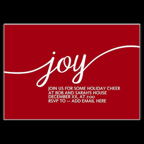 Joy Holiday Red Invitations