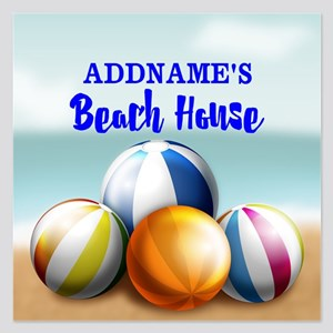 Personalized Beach Balls Be 5.25 x 5.25 Flat Cards