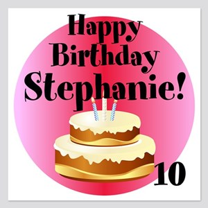 Personalized Name Age Birthday Cake Invitations