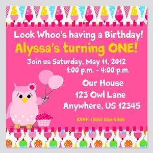 Girls Birthday Owl Invitation 525 X Flat Car