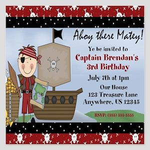 Boy Pirate Birthday Invitation 525 X Flat Ca