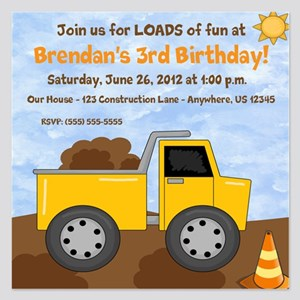 Dump Truck 1st Birthday Invitations And Announcements