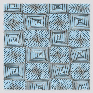 Blue and Brown Rough Square 5.25 x 5.25 Flat Cards