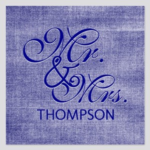 Denim Blue Custom Mr. and M 5.25 x 5.25 Flat Cards