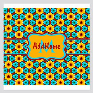 Teal and Yellow Sunflower P 5.25 x 5.25 Flat Cards