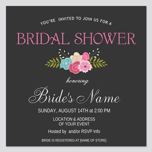 Rustic Floral Bridal Shower Invitation Flat Cards