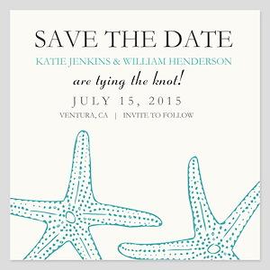 Elegant Starfish Save The Date Invitations