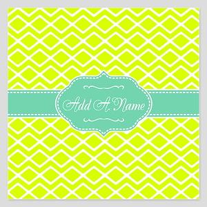 Neon and Mint Green Geometr 5.25 x 5.25 Flat Cards