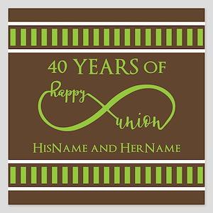 40th Wedding Anniversary Br 5.25 x 5.25 Flat Cards