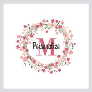 Personalized Floral Wreath 5.25 x 5.25 Flat Cards