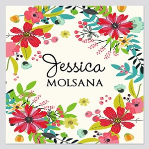 Painted Floral Personalized 5.25 x 5.25 Flat Cards