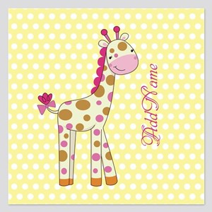 Girly Polka Dots Giraffe Pe 5.25 x 5.25 Flat Cards