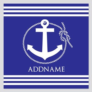 Blue Nautical Rope and Anch 5.25 x 5.25 Flat Cards