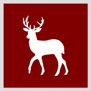 Red and White Deer Silhouet 5.25 x 5.25 Flat Cards
