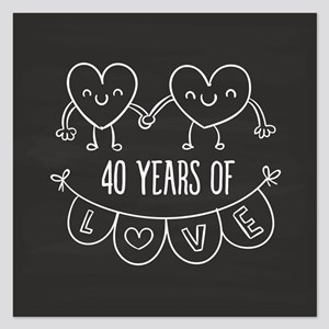 40th Anniversary Gift Chalk 5.25 x 5.25 Flat Cards