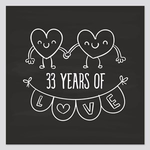 33rd Anniversary Gift Chalk 5.25 x 5.25 Flat Cards